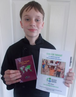Dylan with his Food For Thought Recipe Book