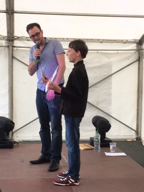 Dylan interviewed on stage at Haverfoodfest