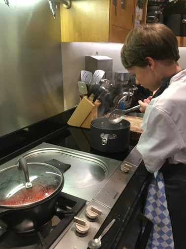 Dylan cooking at Le Manoir